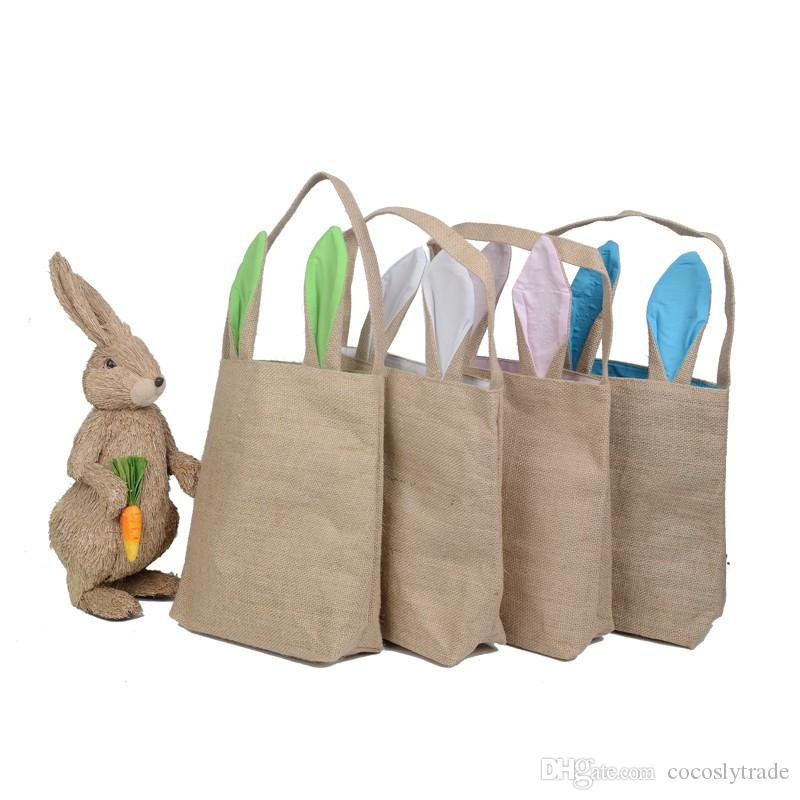 Wholesale Blanks New Unique Design Burlap Easter Tote Jute Easter Bunny bag With Bunny Ears Easter Baskets Storage Box