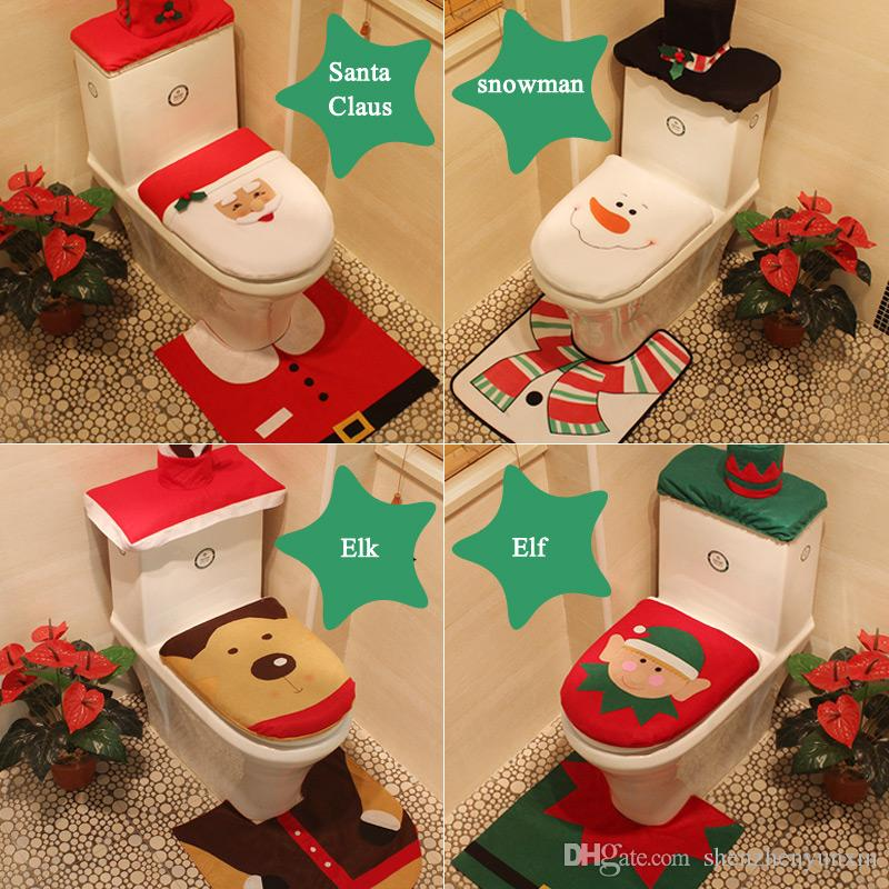 elk elf snowman santa claus cheap merry santa christmas toilet seat cover three pieces hotel bathroom set best xmas decorations christmas outdoor decoration