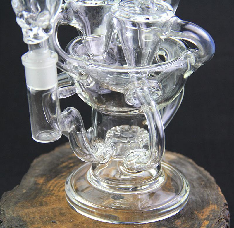 New design Klein big size perfect swirls Glass Bong arms inline glass recycler heady dab oil rigs Gear Perc Water Pipe with bowl
