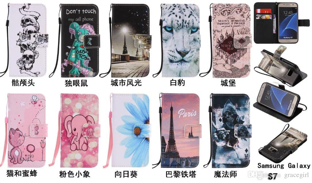 Cartoon Skull Flower Wallet Leather Case For Samsung Galaxy S6 S7 Edge S3 S4 S5 Grand Prime Core G360 Castle Bee Elephant Pouch Stand Cover