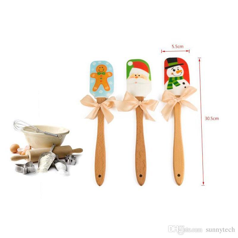 عيد الميلاد تصميم الغذاء غير عصا كعكة زبدة سكين ملعقة خشبية مقبض سيليكون مكشطة أدوات المطبخ الخبز ZA5208