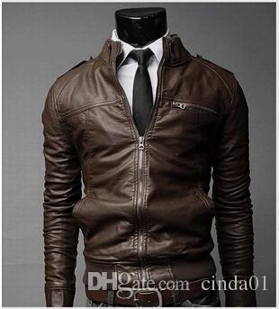 Hommes PU Veste En Cuir De Mode Manteaux pour Les Affaires Masculines Porter Des Vêtements Motorcyle Biker Vestes Zipper Slim Fit Manteaux