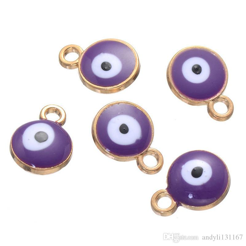 2*12*9mm Turkish amulets Evil Eye charms pendant alloy silver gold color enamel runes beads charms pendant for diy jewelry ACH0004