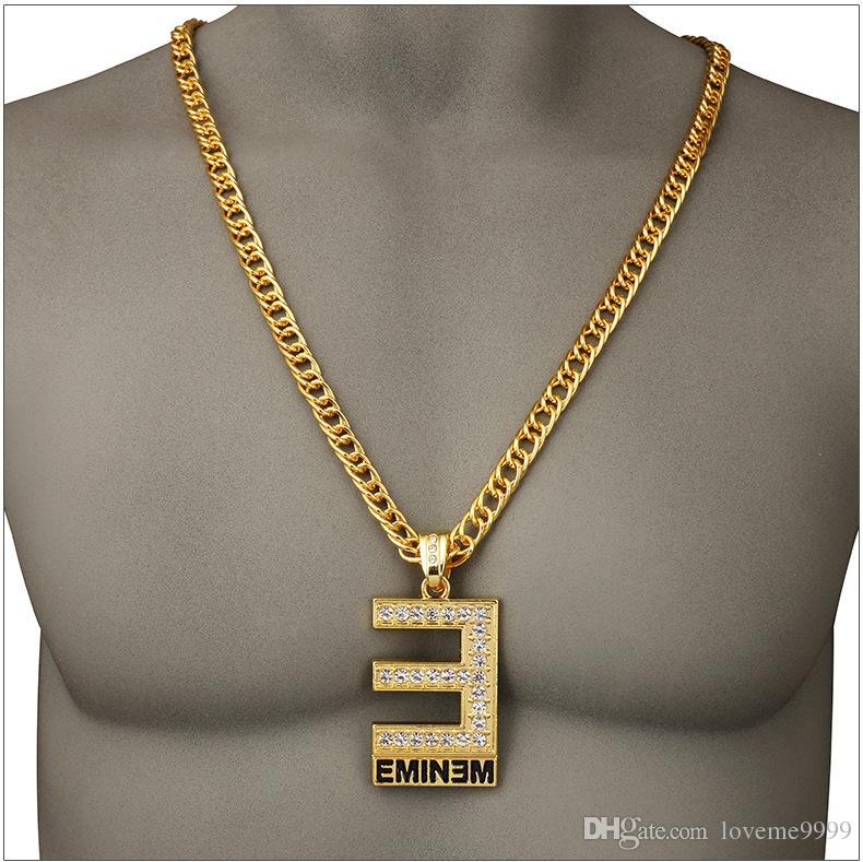 хип-хоп рок 24k позолоченный большой E EMINEM письмо Char CZ Кристалл заполнены Кристалл ледяной кулон ожерелья панк-рэпер ожерелье ювелирные изделия