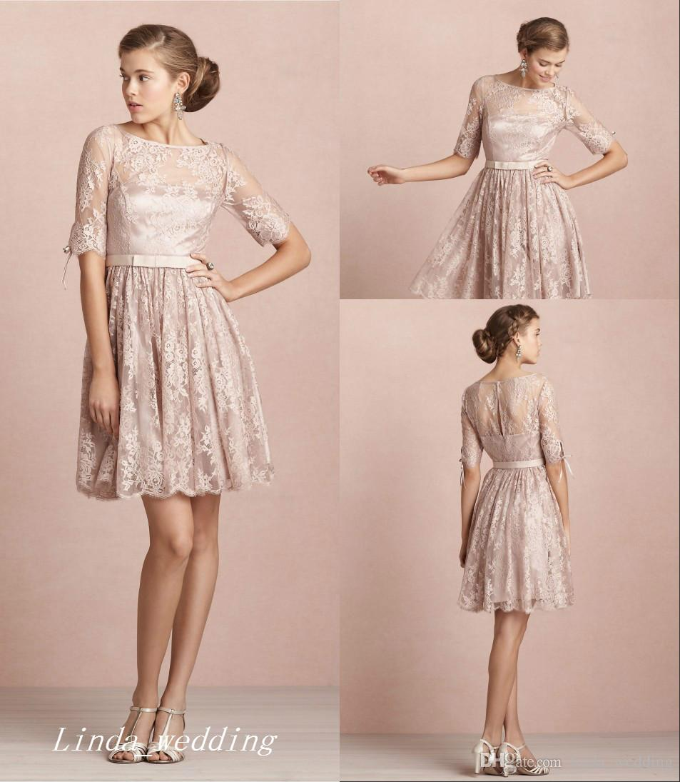 Vintage Elegant Blush Pink Lace Bridesmaid Dress With Sleeves Formal ...