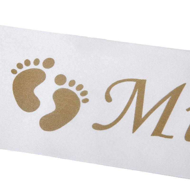 Heißer Verkauf Fußabdruck Bär Mama Satinband Schärpe Neue Mutter Baby Shower Party Favor Vergoldung