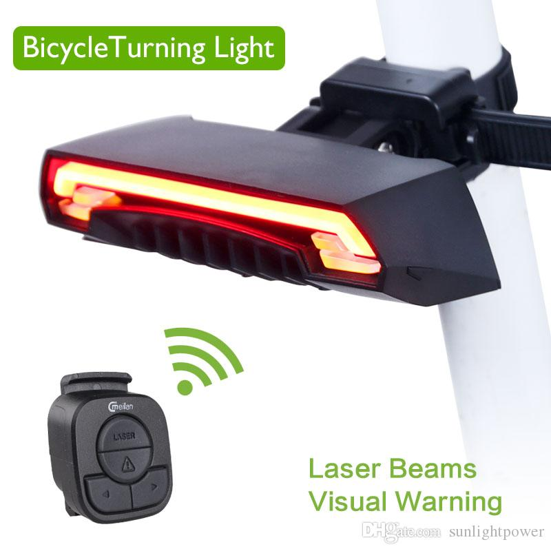 Meilan X5 Smart Bicycle Rear Light Wireless Remote Turning Control Signal Bike Tail Lamp Laser USB Rechargeable Bycicle Light
