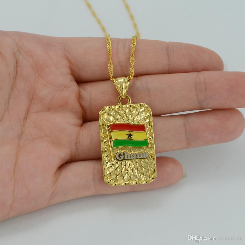 Wholesale Flag Of Ghana Pendant Necklace 18k Yellow Gold Plated