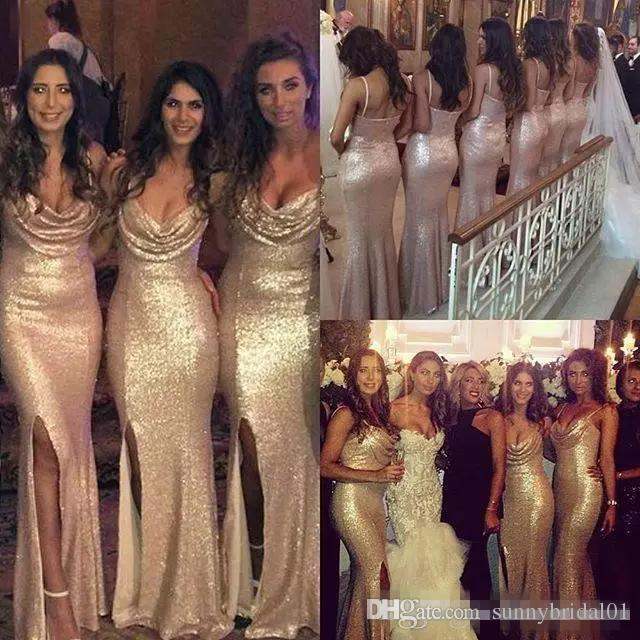 Sparkly Rose Gold Cheap 2017 Mermaid Side Split Bridesmaid Dresses Spaghetti Straps Sequin Backless Plus Size Long Beach Wedding Party Gowns