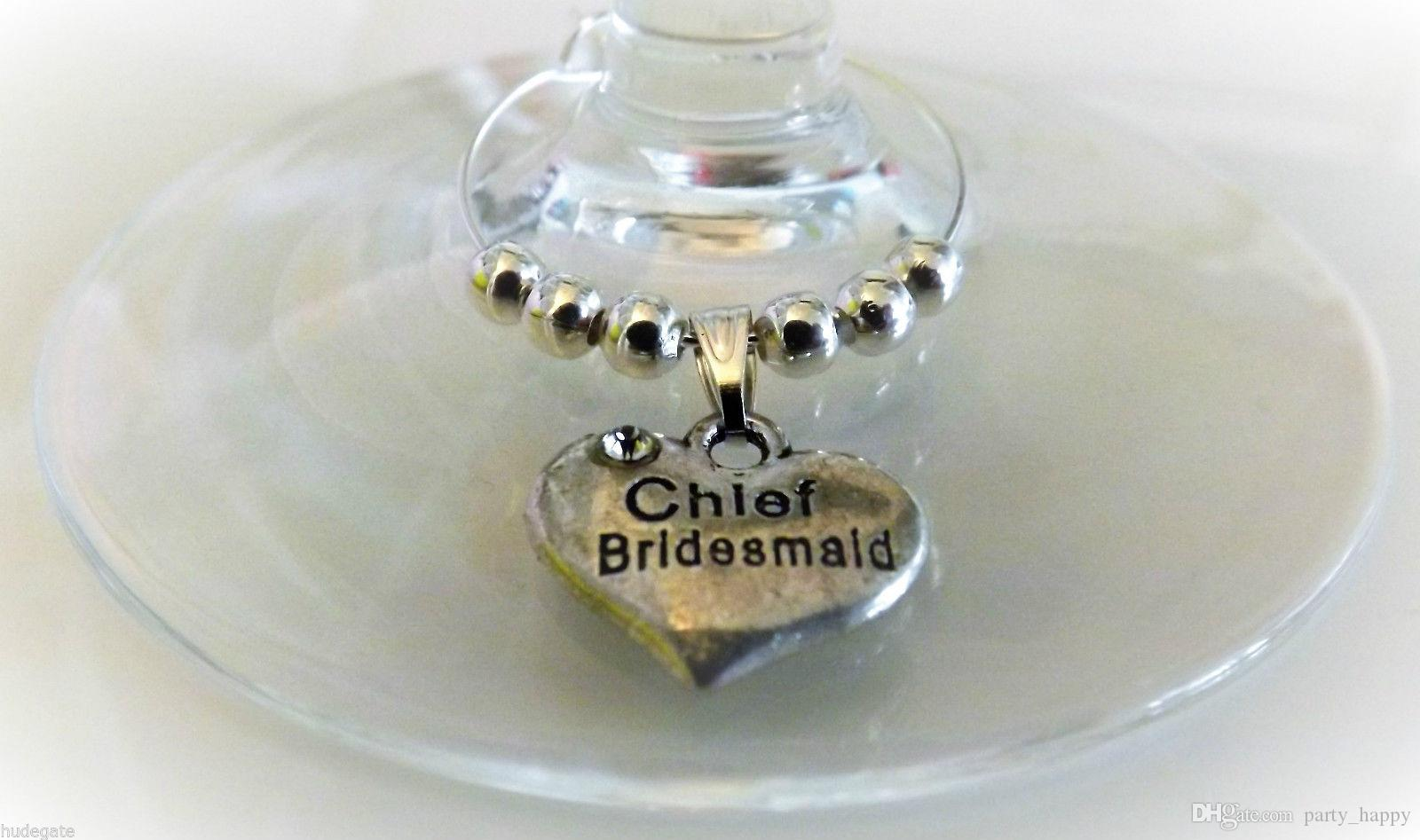 Personalized Wedding Table Decorations Champagne Wine Glass Charms Favor Heart-Shaped Wedding With Beaded Glass Decorative Ring