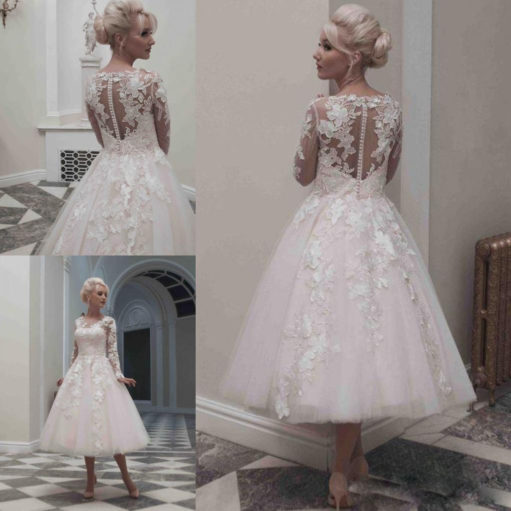 Discount 2016 Vintage Tea Length Beach Wedding Dresses Long Sleeves ...