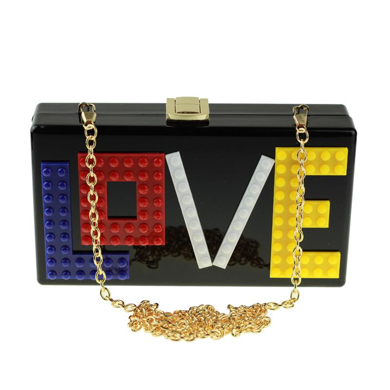 2017 LOVE Acrylic Clutch Bag with Golden Chain Famous Brand Shoulder Handbag Hard Case Box Clutch Evening Bag Party Purse