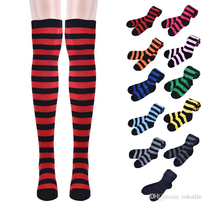 59f0c213f 2017 Striped Knee High Socks For Girls Japanese Style Thigh High Socks  Sweet Spring & Summer Stockings Girl Cute Socks Online Unique Crew Socks  From ...