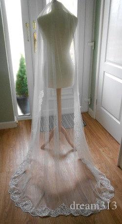 Amazing Real Picture Elegant Cheap Best Sale Chapel White Ivory Lace Applique veil Mantilla Bridal Head Pieces For Wedding Dresses