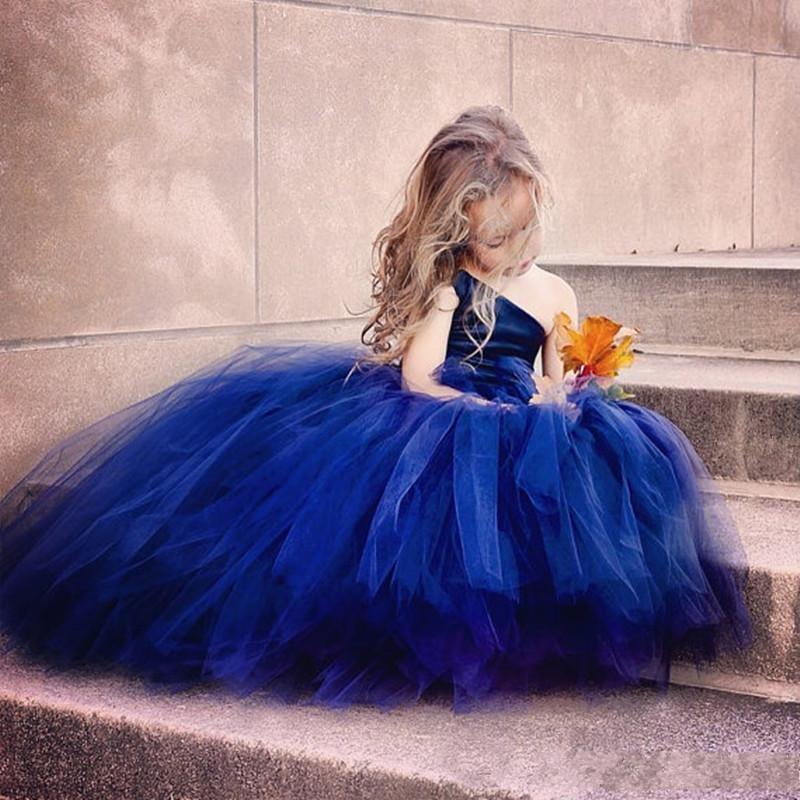 Tulle azul escuro vestido de baile vestidos da menina de flor para o casamento 2016 de um ombro meninas pageant vestidos de renda até o chão comprimento do partido do miúdo vestidos