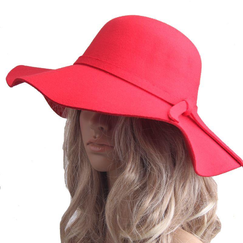 Inglaterra estilo Retro Senhoras Mulheres ao ar livre chapéu de sol De Feltro de Feltro Fedora Floppy Cloche Aba larga chapéu bowknot Cap B942