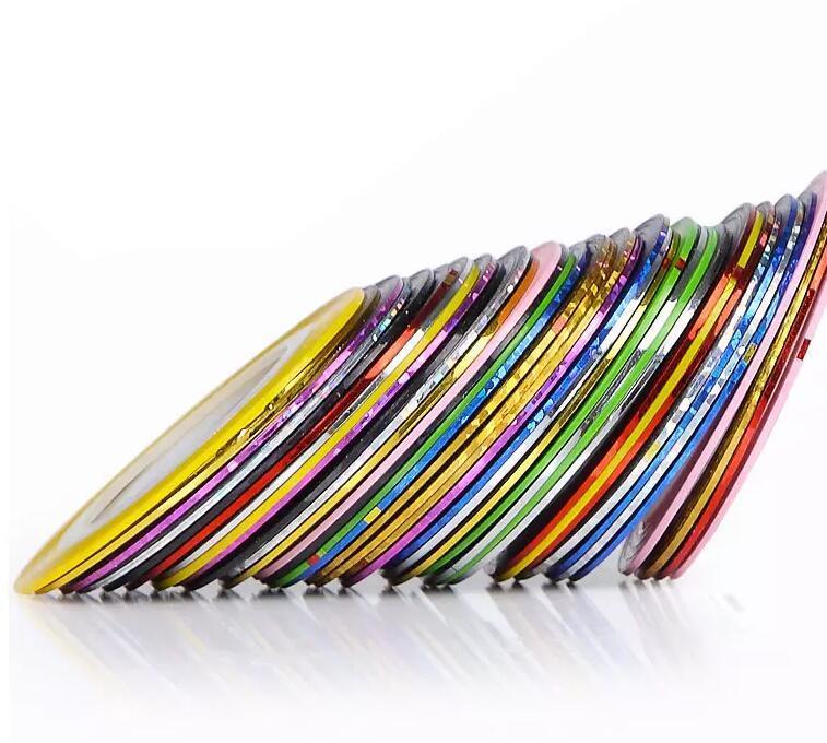 Смешанные Цвета Рулоны Striping Tape Line Nail Art Советы Украшения Наклейка Красота Украшения Наклейка Уход За Ногтями Искусство Аксессуары