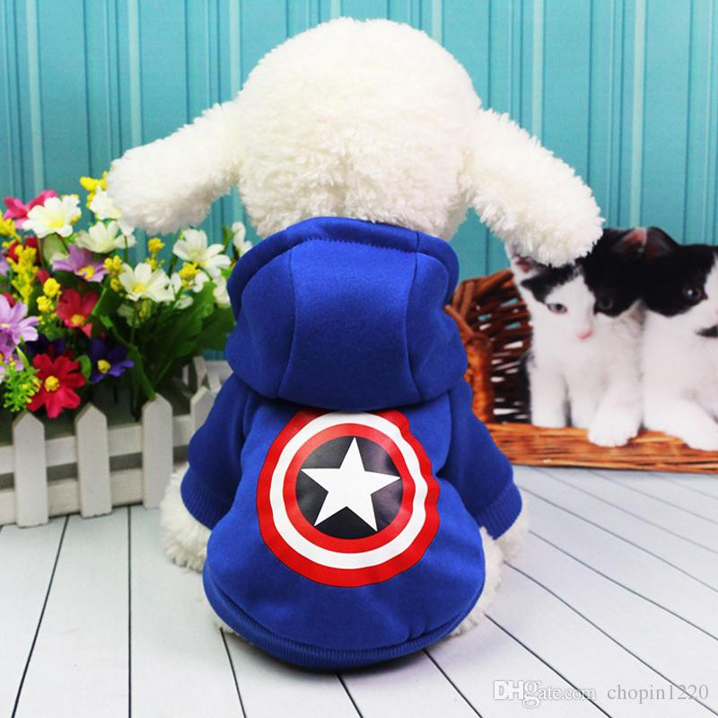 Autumn Winter Cartoon Captain America Botton Up Clothes Product Two Legs Dog Coat for Small Dogs Chihuahua Costume Puppy Suit Pet Supplies