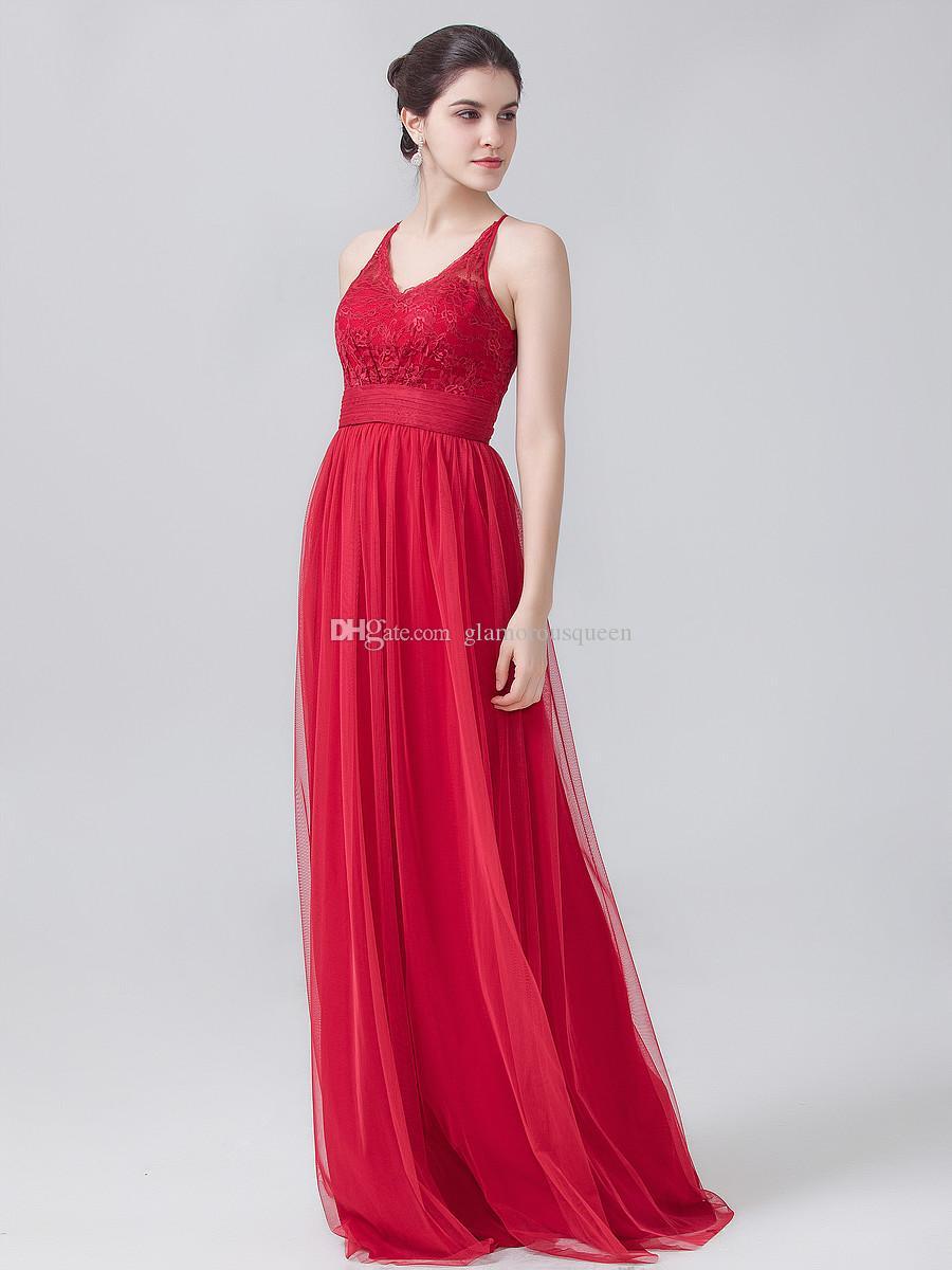 2016 Nuovo arrivo Abiti da damigella d'onore rossa gioiello scollatura chiffon Piano Lunghezza abiti di pizzo lungo damigella d'onore il matrimonio