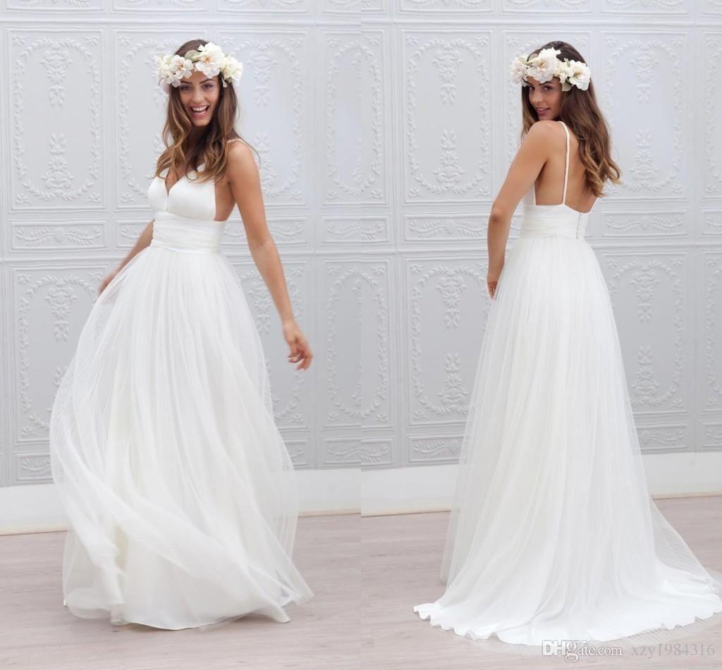 Bohemia Beach vestidos de novia correas de espagueti Pure White acanalada tul 2015 vestidos de novia Simple Style Fairy vestidos de novia por encargo