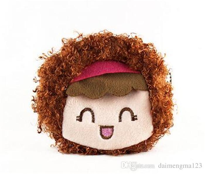 new arrive 16 designs cartoon QQ expression cat girl Coin Purses cute emoji coin bag plush pendant smile wallet D731