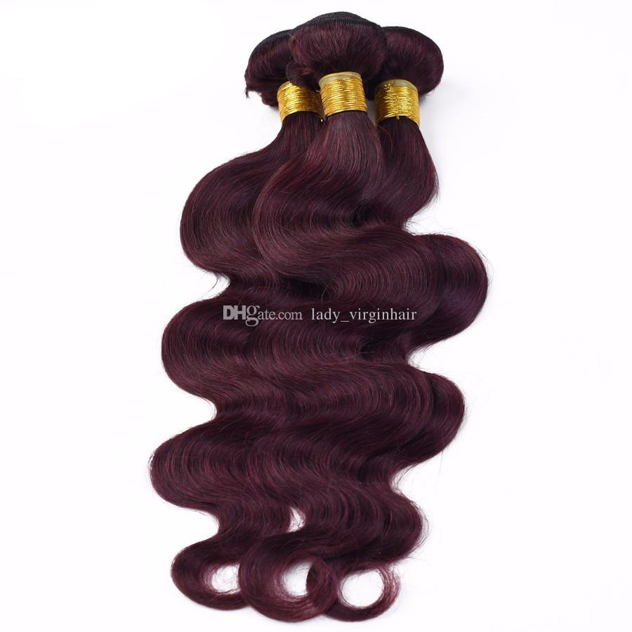 New! 9A Top Grade Wine Red Brazilian Human Hair Weaves Body Wave #99j Burgundy Brazilian Wet and Wavy Hair Weaves
