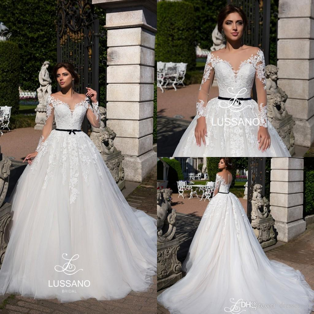 Discount Amazing 2018 Sheer Scoop Neck A Line Wedding Dresses With Black Belt Appliqued Tulle Illusion Button Back Bridal Gowns Court Train Gown: Black Waist Wedding Dress At Websimilar.org