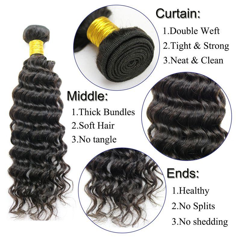 Brasilianische Reine Haar Tiefe Welle Menschliche Reine Haarverlängerungen Weben 3 oder 4 Bundles Deep Curly Weave Bundles Remy Curl für schwarze frauen