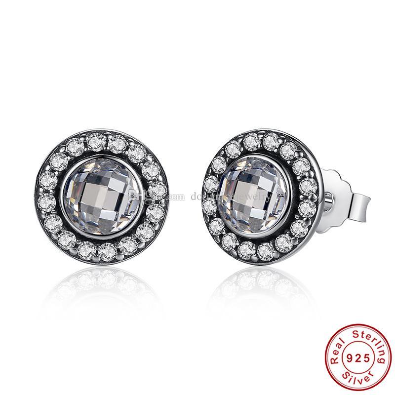 Brilliant Legacy Boucles d'oreilles en argent sterling avec rose clair CZ Original Pandora Style Boucles d'oreilles pour les femmes ER028