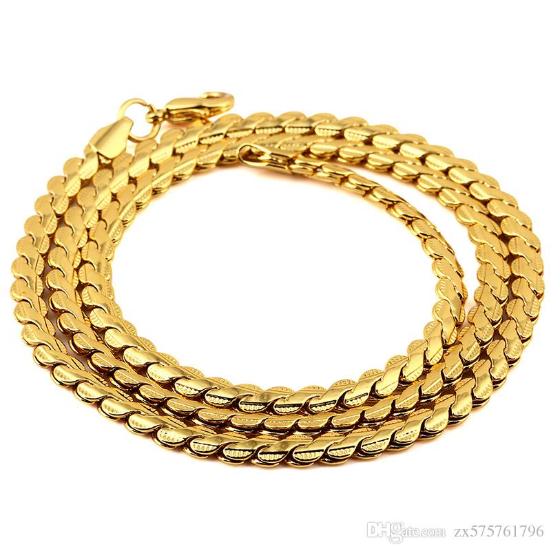 Fashion Mens Chains Necklaces 18K Gold Plated Link Chains Hip Hop ...