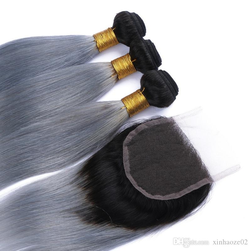 8A Brazilian Virgin Hair Silky Straight Two Tone #1B/Grey With Lace Closure Ombre Human Hair Bundles Dark Roots Grey Hair