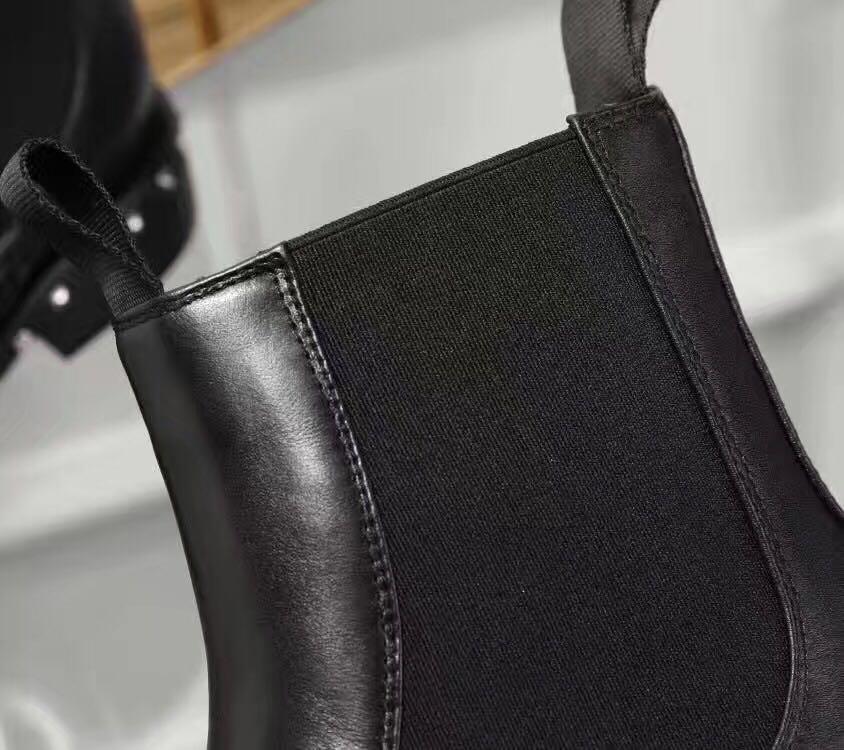 Verkauf! freies Schiff! u753 40 schwarz echtes Leder Stretch Knöchel flach célèb kurze Stiefel Mode-Auswahl