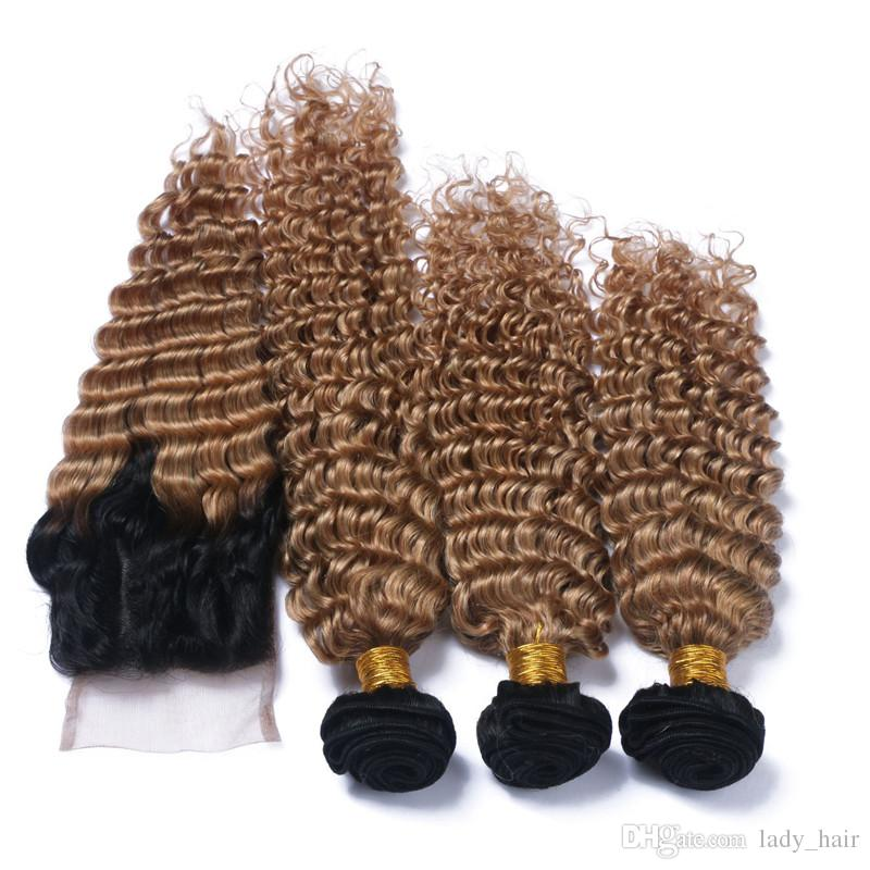 밝은 갈색 Ombre 페루 깊은 파도 헤어 Wefts 폐쇄 / # 1B / 27 꿀 금발 인간의 머리카락 3Bundles 4 x 4 레이스 폐쇄