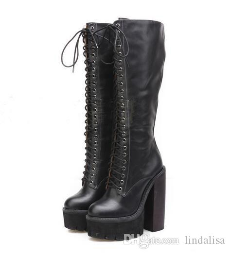 Fashion Platform Wedge Heels Knee Boots As Jeffrey Campbell Chunky ...