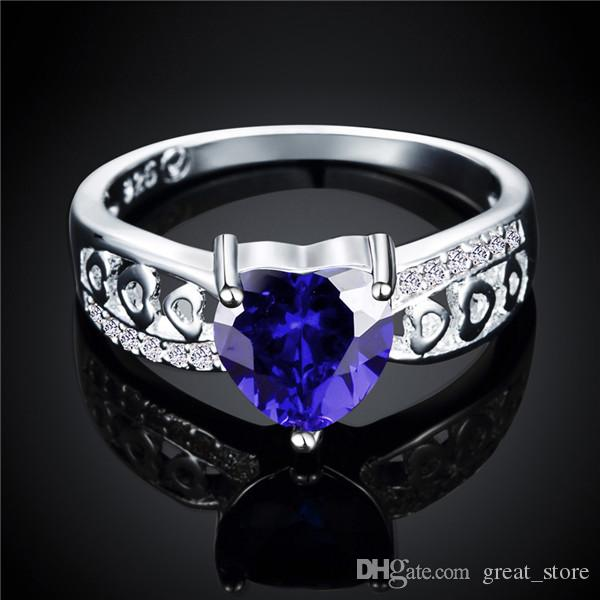 Hot sale fashion heart silver finger ring Brand new women's 925 silver two colors weeding gemstone Rings GTR047