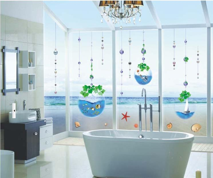 Crystal fish tank bead curtain bathroom glass window for Vinilos pared fortnite