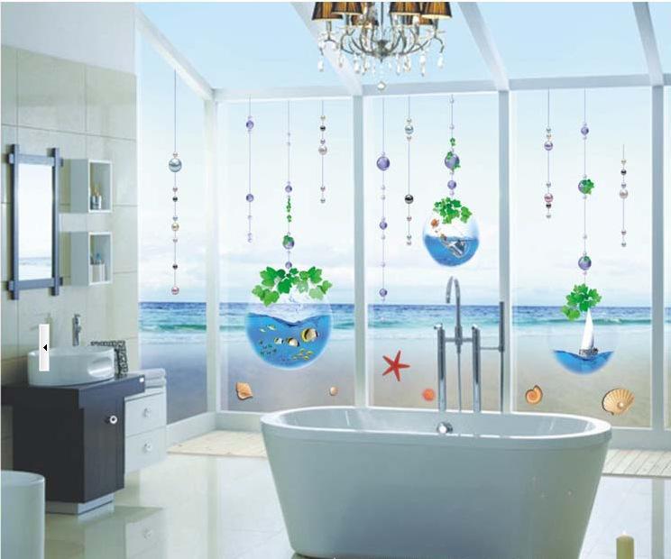 Großhandel Kristall Aquarium Perlgardine Badezimmer Glasfenster Aufkleber  Hauptwand Abziehbilder Vinylaufkleberkindraum Dekorwand Von Lin116, $18.74  ...