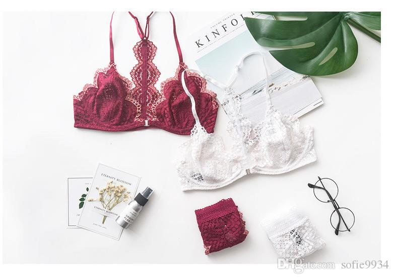 Women Push Up Bra Front Closure Padded Lace Bra Y-line Lingerie Sexy Bundle Size Hollow Out Bra and Panty Sets