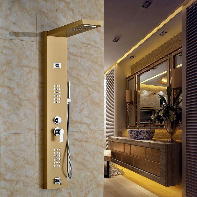 2018 Gold Finished Bathroom Shower Set Shower Column With 2 Water ...