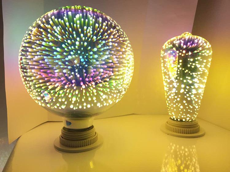 3D Edison bombilla lámparas e27 fuegos artificiales luz de filamento para la fiesta de Halloween decoración AC85-265V ST64 G95 G125 diamante en forma de fresa
