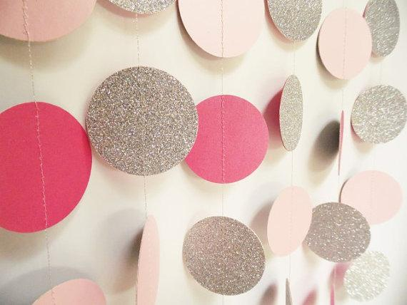 Glitter Circle Garland Silver Hot Pink And Light Pink Glitter
