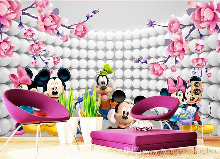 3d Custom Wallpaper Cartoon Photo Wallpaper Mickey Mouse Wall Murals Kidu0027S  Bedroom Boy Girls Nursery Room Decor Interior Design Pink Flowers High  Quality ...