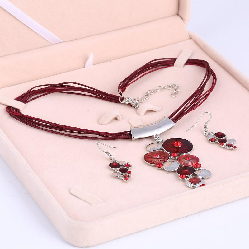 2016 Luxury Circles Necklace Earrings Women Resin Gem Leather Rope Statement Jewelry Set Wholesale Trendy Best Gift