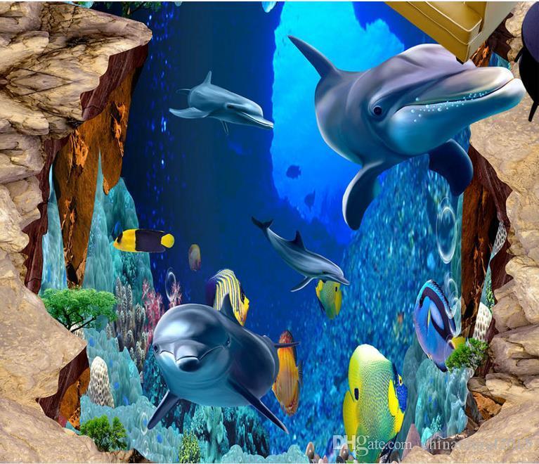 Sea World bagno 3D da pavimento a pavimento pittura pavimenti in vinile bagno