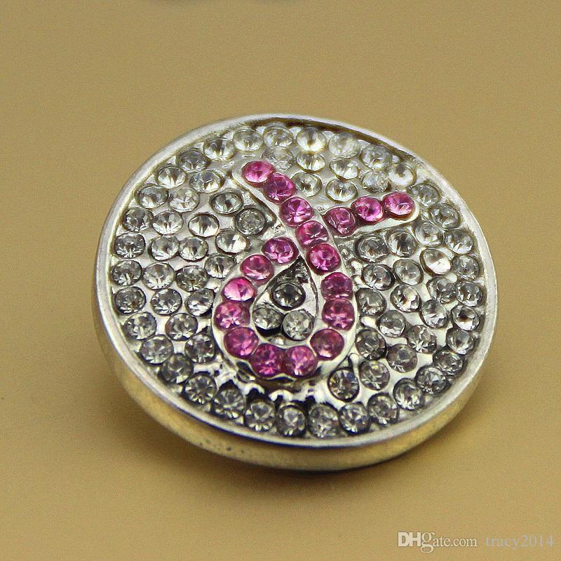 Noosa pulsanti i snap premere pelle noosa braccialetti fai da te regali cristallo rosa nastro cancro al seno consapevolezza scatta bottoni