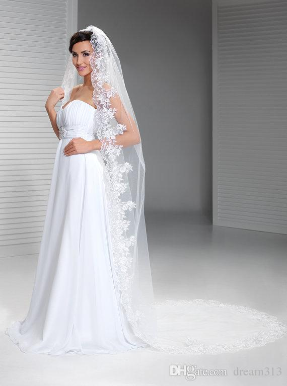 Top Qualityr Best Sale Cathedral White Ivory Lace Applique veil Mantilla Veil Bridal Head Pieces For Wedding Dresses