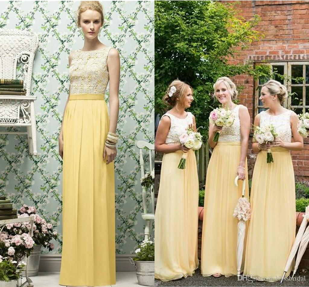 Chiffon garden long yellow bridesmaid dresses floor length chiffon garden long yellow bridesmaid dresses floor length sleeveless lace top custom made beach maid of honor dresses for wedding formal gowns gold ombrellifo Images
