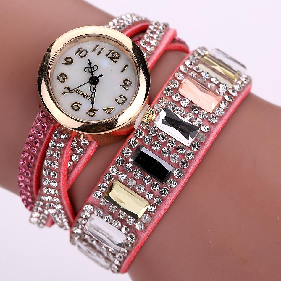 Duoya Brand New Watch Women Popular Rhinestone Luxury Bracelet Wristwatch Women Lady Female Dress Cheap Electronic Quartz Watch