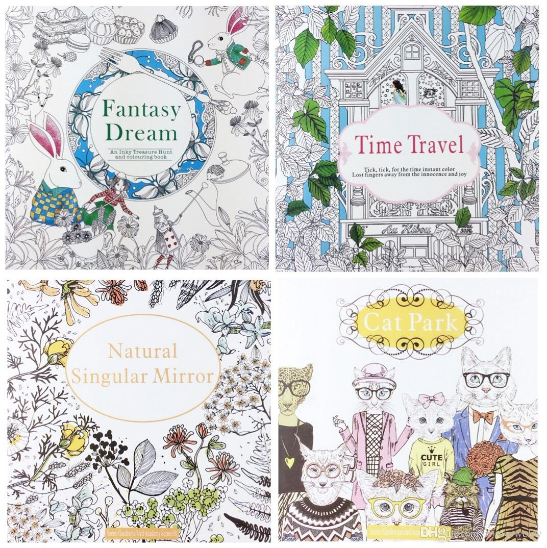 4 Design Secret Garden Fantasy Dream Combo Kit Coloring Book Children Relieve Stress Kill Time Graffiti Painting Magic Forest Drawing