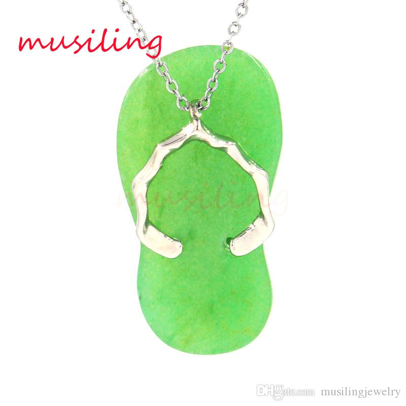 Natural Stone Slippers Pendant Silver Plated Amethyst Rose Quartz etc Mascot Reiki Charms Accessories Amulet Fashion Jewelry